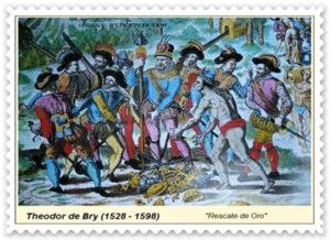 Rescate de oro Grabado de Theodor de Bry.