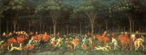Paolo Uccello (1397-1475) La caza en el bosque; Museo Ahsmolean, Oxford (Reino Unido)