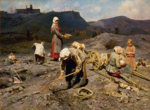 6 Pobres recogiendo carbones en la cantera, de Nikolaj Kasatkin, pintor ruso 1886