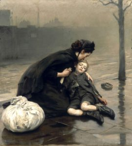 Homeless, sin hogar, de Thomas Benjamin Kennington, de 1890.
