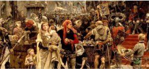 Valdemar Atterdag obligando a Visby al rescate (1882), Carl Gustaf Hellqvist