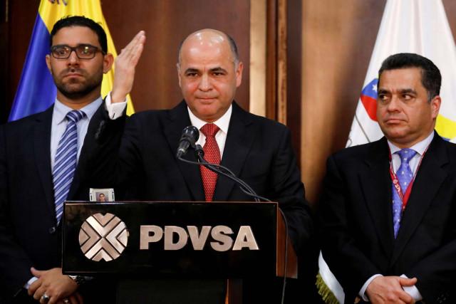 El ministro del Petróleo y presidente de PDVSA, Manuel Quevedo, durante una conferencia de prensa en Caracas, Venezuela.